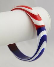 VINTAGE Jewelry BEST PLASTIC FOR TRIFARI RED WHITE & BLUE BANGLE BRACELET