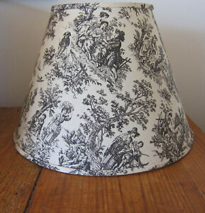 VINTAGE TOILE DE JOUY BROWN & BEIGE EMPIRE LAMP SHADE WITH SPIDER FITTER/WASHER