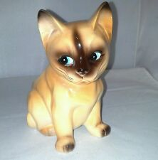 Cat Kitten Siamese Planter Hand Painted Very Cute No Marks Vintage Brown and Tan