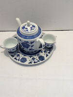 Blue & White Flower Teapot, 2 Cups, and Serving Tray, Made in China