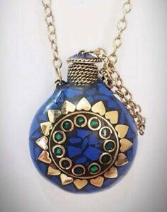Tibetan vintage snuff perfume bottle long necklace, Lapislázuli & Malachite