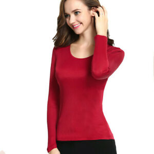 Silk Women Mulberry Silk Round Neck Thermal Top Long Sleeve Stretch T-Shirt Top