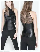 Zara Faux Leather Lace Peplum Top sz XS