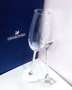 NEW SWAROVSKI Crystalline Toasting Flutes Wedding Champagne Glasses Gold, White
