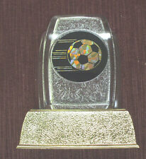 SOCCER trophy fossil ball mylar party favor gold color base