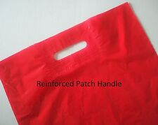 100 Plastic Carry Bags with Die Cut Patch Handle -Gloss RED 480+50(H)x380(W)