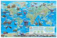 "Cool Owl Maps Dinosaur World Wall Map Poster 36""x24""  Rolled Paper"