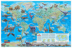 """Cool Owl Maps Dinosaur World Wall Map Poster 36""""x24""""  Rolled Paper"""