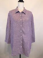 COLDWATER CREEK Size XL 18 Shirt Button Linen Purple White Striped 3/4 Sleeve