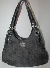 COACH 18886 Madison Maggie Black Gather Signature Section Shoulder Tote Handbag