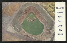 """1953 Yankee Stadium Postcard Jehovah's Witness Assembly """"126,387 Attend"""""""