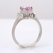 Natural Padparadscha Sapphire 2.11 ct in Platinum Ring  Diamonds Gorgeous Design