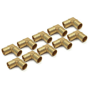 """(10) New 3/4"""" x 3/4"""" PEX 90 DEGREE BRASS ELBOWS Fitting Barbed Coupler LEAD FREE"""