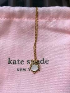 Kate Spade Owl Mother of Pearl Pendant Necklace Dust Bag NEW