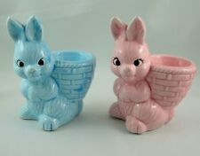 Egg Cup Holder x2 Bunny Rabbit Pink & Blue Ceramic Kitchenware Breakfast Vintage