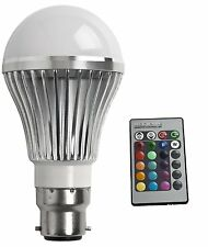 REMOTE CONTROL COLOUR CHANGING DIMMABLE LIGHT BULB BC B22 LED RBG RED BLUE GREEN