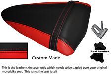RED & BLACK CUSTOM FITS KAWASAKI NINJA ZX6R 07-08 PILLION LEATHER SEAT COVER