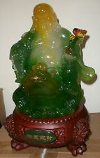 "15.5"" Good Luck Happy Buddha Statue on Gold Frog Man Made Multi Color Jade #508"