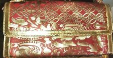 Exotic Red Leather Tooled  Convertible Clutch or Shoulder Bag Purse Chico's