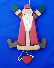 "pull string jointed puppet Old World Santa Claus Christmas ornament 7½"" wood"