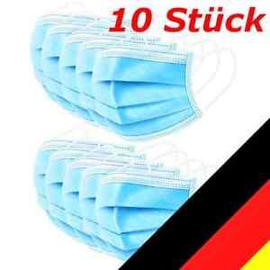 10 Stk Mund-Nasen-Bedeckung Filtermaske 3lagig  Atemschutz