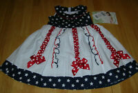 Girls Bonnie Jean Baby Dress 24 months Patriotic 4th of July Holiday NWT stars