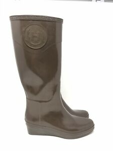 HUNTER Champery Limited Edition Zermatt Wedge Heel Brown Rain Boots Women Size 9