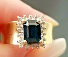 Vintage Dark Blue Sapphire Diamond Halo 14k white/yellow gold ring