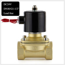 "G 1-1/2"" BSPP 2W-400-40 Brass Electric Solenoid Valve Water Oil Gas N/C DC 24V"