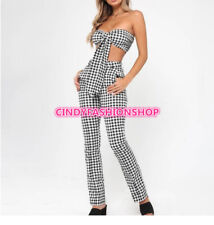 New Elegant Plaid Straight Trousers Sexy Bodysuit Bow Tie Decoration Two Pieces