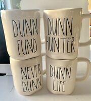 Rae Dunn by Magenta NEVER DUNN, DUNN HUNTER, DUNN FUND, DUNN LIFE Mug Set NEW