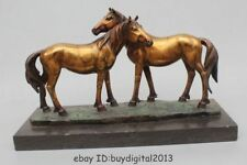 "10""Chinese Pure bronze Copper Gild Base Marble Lucky Two Horse Statue"