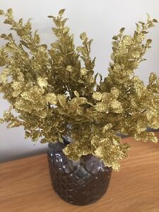 Artificial Gold Glittered Eucalyptus X 3 Bunches 15 Stems Total