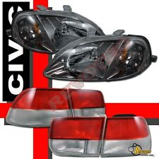 1999-2000 Honda Civic 2Dr Coupe JDM Gunmetal Headlights + Tail Lights Red Clear