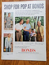 1952 Bond's Clothes Ad  Shop for Pop at Bonds