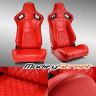 2 X All Red Diamond Pvc Leather Sport Racing Bucket Seats Leftright