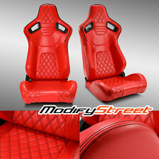 2 X All Red Diamond Pvc Leather Sport Racing Bucket Seats Leftright Fits Toyota Celica