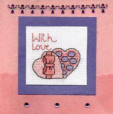 Valentine's Day Cross Stitch Cards - Love, Hearts, Flowers, Handmade Valentine
