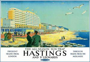Art Travel HASTINGS AND ST LEONARDS   Train Railway Poster Print