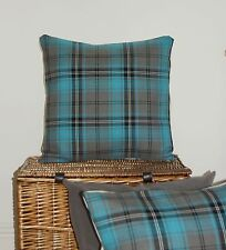 "TEAL BLUE GREY TURQUOISE TARTAN CUSHION COVER 16"" COUNTRY CHIC PLAID BALMORAL~@~"