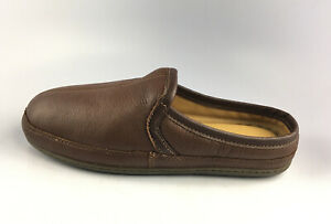 L.L. Bean 272349 Brown Elkhide Leather Slide On Men's House Slippers Size 9 M