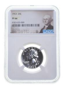 1963 PF66 Proof Washington Quarter NGC Graded - White Coin Spot Free PR *0396