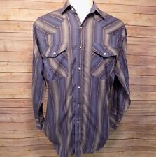 Rock Canyon Men's Vintage Cowboy Western Rockabilly Pearl Snap Shirt Blue Sz M