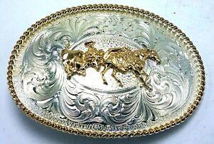 Vtg Montana Silversmiths Silver Plate Gold Tone Cowboy Roper Rodeo Belt Buckle