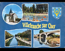 VILLEFRANCHE-sur-CHER (41) BAIGNADE en Bords du CHER ,PONT ,EGLISE & BLASON 1976