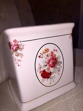 Waverly Garden Room Vintage Norfolk Rose Ceramic Tissue Holder Box Cover Decor