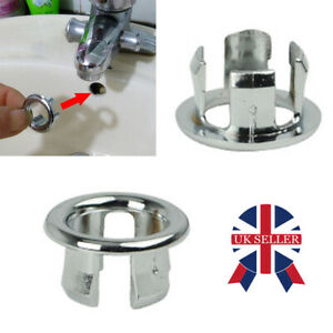 2 x pcs Bathroom Basin Sink Overflow Ring Chrome Hole Cover Cap Inserts Round