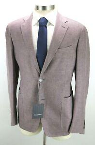 NWT $2495 Ermenegildo Zegna Linen Wool Silk Coat Jacket 44 R fits 42 Mauve 54 EU
