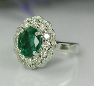 2.55Ct Oval Cut Green Emerald Halo Engagement Wedding Ring 14K White Gold Finish
