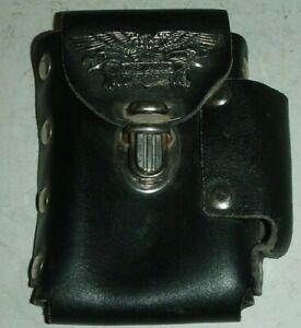 Vintage Harley Davidson Leather Cigarette & Lighter Holder Biker Bling Well made